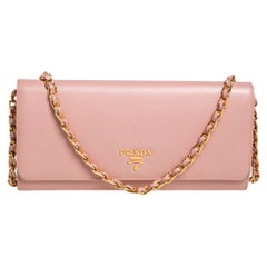 Prada Pink Saffiano Lux Leather Wallet on Chain