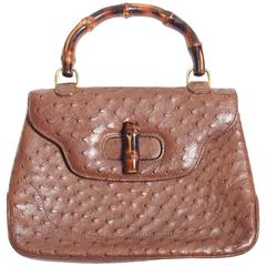 Gucci Ostrich & Bamboo Top Handle Bag