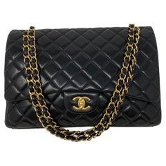 Chanel Black Maxi Lambskin Single Flap Bag