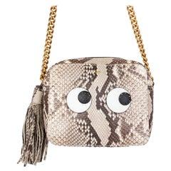 ANYA HINDMARCH taupe snakeskin PYTHON EYES RIGHT Crossbody Shoulder Bag