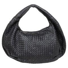 Bottega Veneta Black Intrecciato Leather Large Veneta Hobo