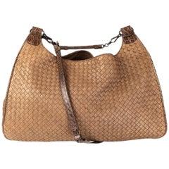 BOTTEGA VENETA taupe leather INTRECCIATO & CROCODILE TRIM HOBO Shoulder Bag