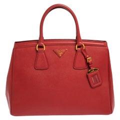 Prada Red Saffiano Leather Tote