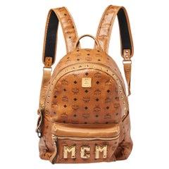 MCM Cognac Visetos Canvas and Leather Trilogie Studded Stark Backpack