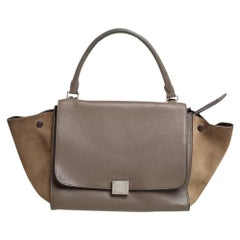 Celine Brown/Grey Leather and Suede Medium Trapeze Top Handle Bag