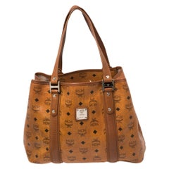 MCM Cognac Visetos Coated Canvas and Leather Shopper Tote