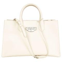 BALENCIAGA off-white leather PADLOCK NUDE WORK XS MARBLE Tote Bag