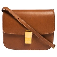 Celine Tan Leather Medium Classic Box Shoulder Bag