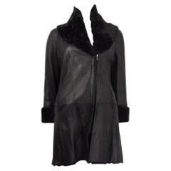 JIL SANDER NAVY black leather SHEARLING Coat Jacket 34 XS