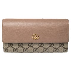 Gucci Beige GG Supreme Canvas and Leather GG Marmont Flap Continental Wallet