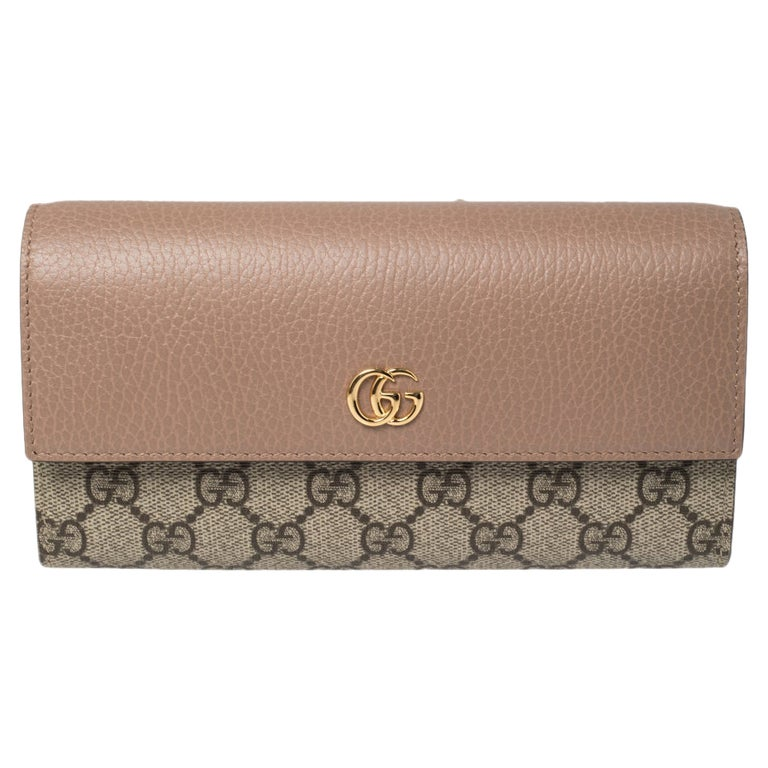 Gucci Beige GG Supreme Canvas and Leather GG Marmont Flap Continental Wallet For Sale