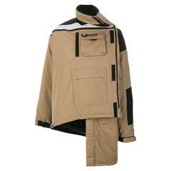 BALENCIAGA tan nylon ASYMMETRIC PARKA Coat Jacket 36 XS