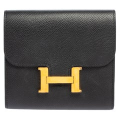 Hermes Noir Epsom Leather Constance Compact Wallet