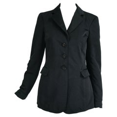 Giorgio Armani Collezioni Black Nylon Single Breasted Riding Jacket