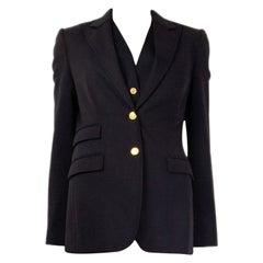 DOLCE & GABBANA black wool SINGLE BREASTED Blazer Jacket 42 M