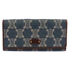 Celine Blue/Brown Macadam Denim and Leather Continental Wallet