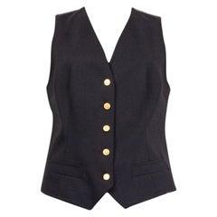 DOLCE & GABBANA black wool & silk Vest Jacket 46 XL