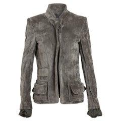 HAIDER ACKERMANN grey cotton VELVET TAILORED Jacket 40 M