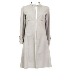 JIL SANDER light grey leather Coat Jacket 38 M