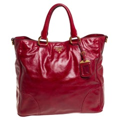 Prada Red Vitello Shine Leather Tote