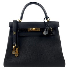 New Hermes Kelly 28 Touch Black Leather and Crocodile Gold Hardware 2021