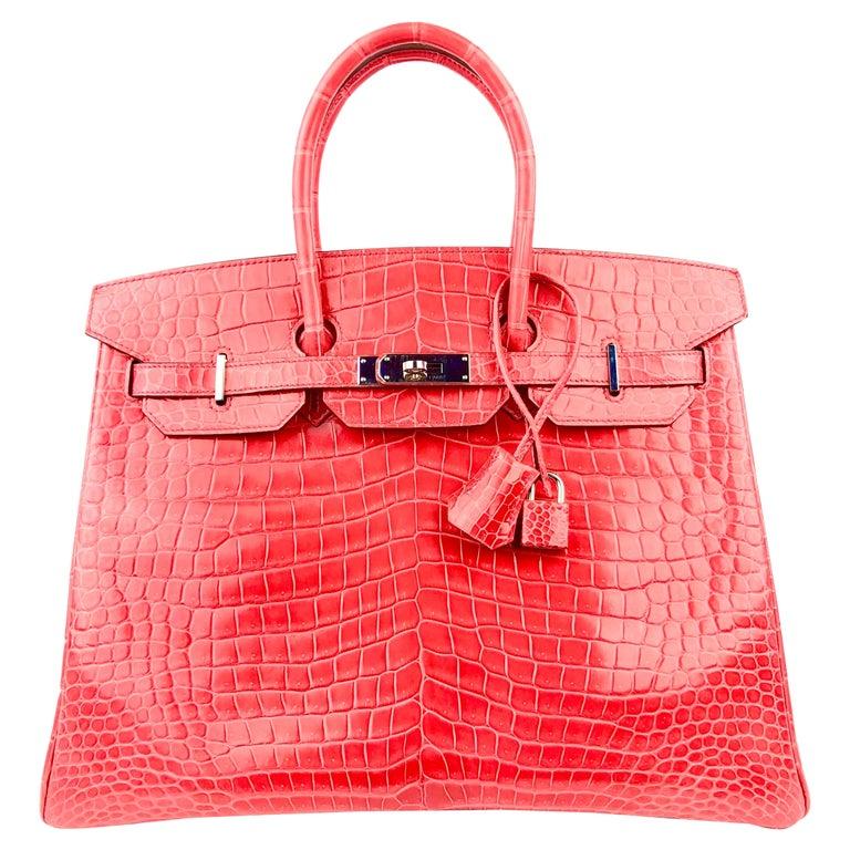 Hermes Birkin 35 Shinny Crocodile Bougainvillea Red Pink Palladium Hardware 2016 For Sale