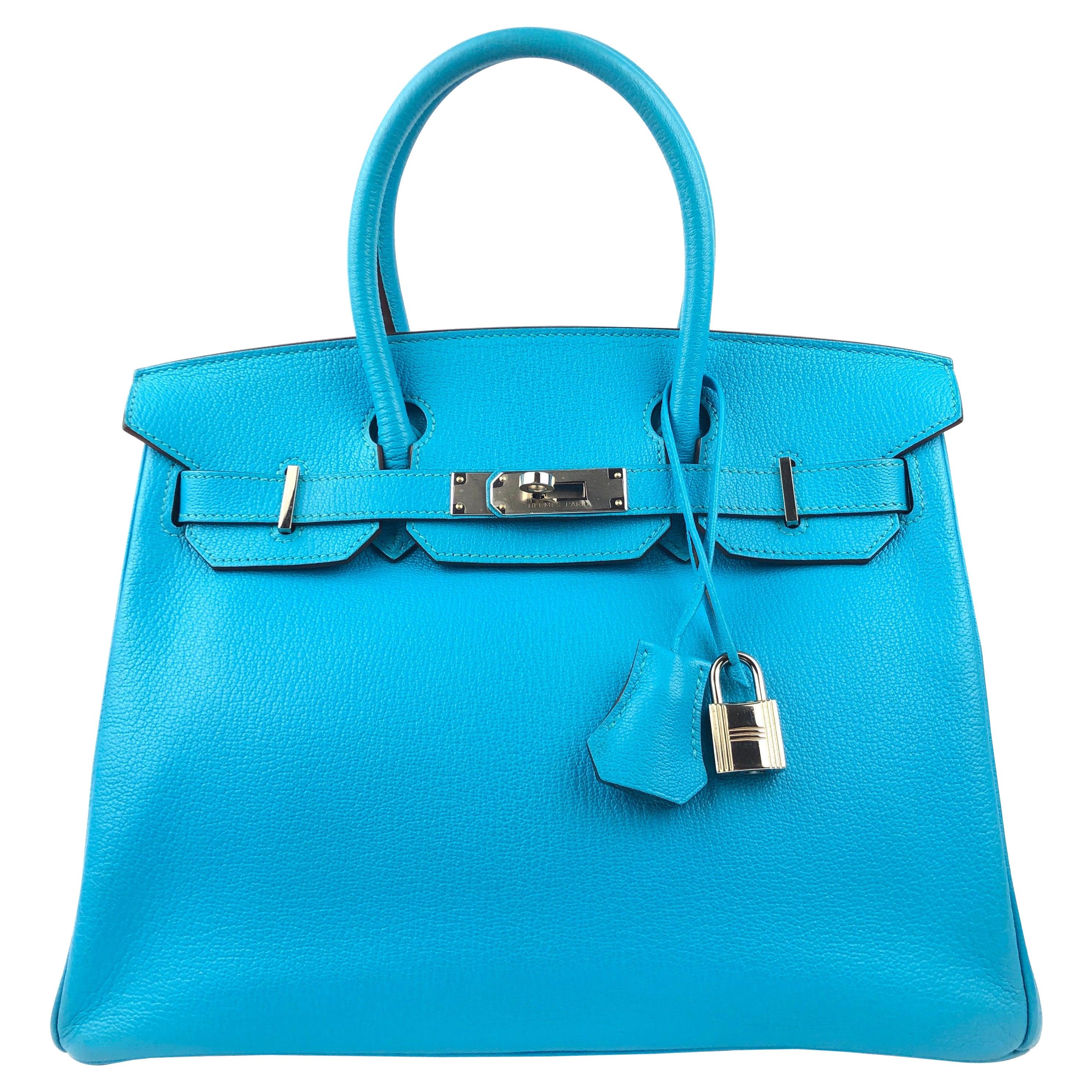 Hermes Birkin 30 Blue Aztec Chèvre Leather Palladium Hardware