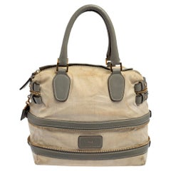 Chloe Beige/Grey Leather and Fabric Andy Expandable Satchel