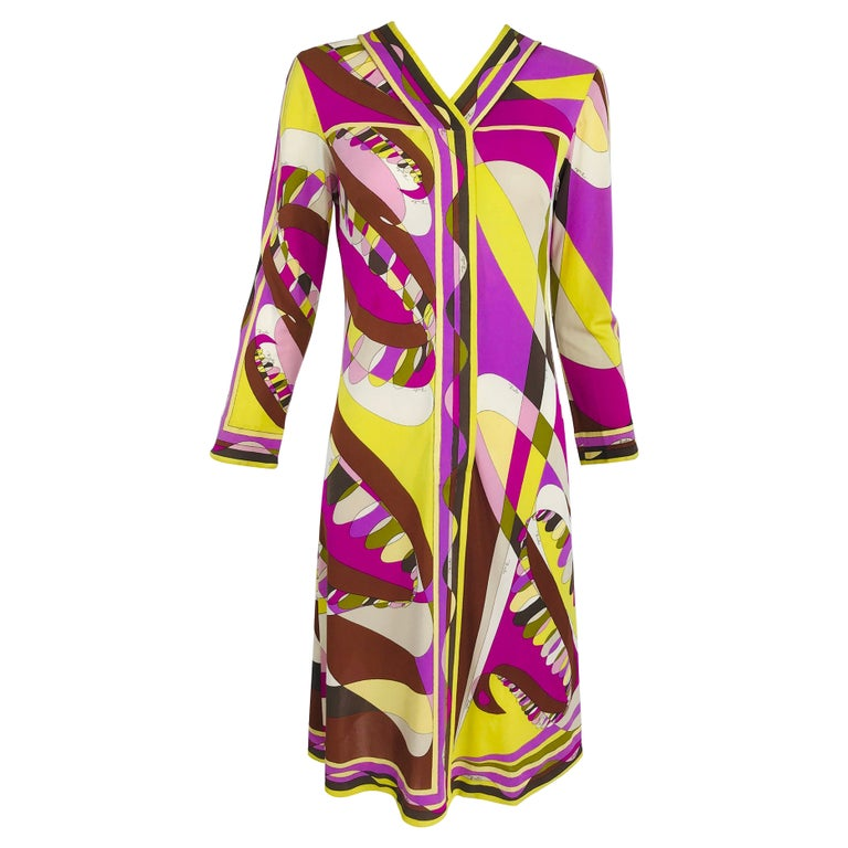 Vintage Emilio Pucci Silk Jersey Print Long Sleeve Day Dress 1960s For Sale