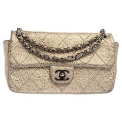 Chanel Metallic Gold Quilted Leather Flap Bag