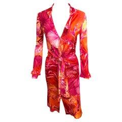 Gianni Versace Runway S/S 2000 Vintage Tropical Print Plunging Neckline Dress