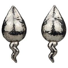 Vintage Massive ALEXIS LAHELLEC Paris Spermatozoa Fertility Silver Earrings