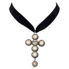 Vintage JEAN PAUL GAULTIER Gothic Cross Metal Ball Pendant Necklace