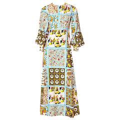 "C.Capriotti Silk ""Patchwork"" Pattern 70's Maxi Dress"