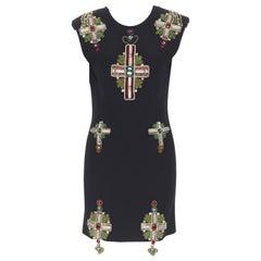 new VERSACE SS18 Tribute Runway Byzantine cross jewel encrusted mini dress IT40