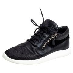 Giuseppe Zanotti Black Leather, Mesh Side Zip Sneakers Size 42
