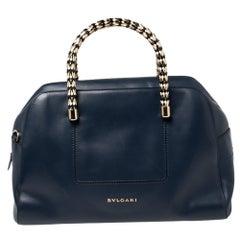 Bvlgari Blue Leather Serpenti Scaglie Bowler Bag