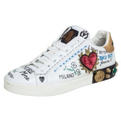 Dolce & Gabbana White Graffiti Printed Portofino Low Top Sneakers Size 37.5