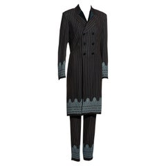 Jean Paul Gaultier brown and blue pinstripe pant suit, ss 1997