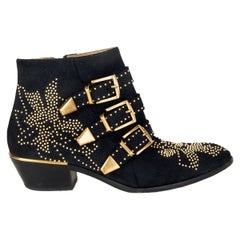 CHLOE midnight blue suede STUDDED SUSANNA Ankle Boots Shoes 38