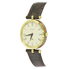 GUCCI Vintage Brown Leather Gold Men's Women's Unisex Mid Size Watch in Box