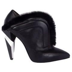 FENDI black leather FUR TRIM Ankle Boots Shoes 37