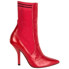 FENDI cherry red leather SOCK Ankle Boots Shoes 39