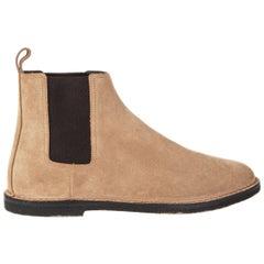 SAINT LAURENT beige suede ORAN Chelsea Flat Ankle Boots Shoes 41