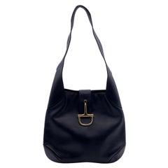 Celine Vintage Black Leather Horsebit Hobo Shoulder Bag