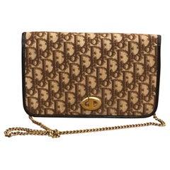 Vintage CHRISTIAN DIOR Brown Trotter Jacquard Chain Shoulder Bag