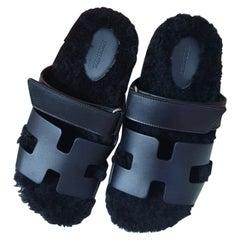 Hermes Black Leather Fur Chypre Sandal