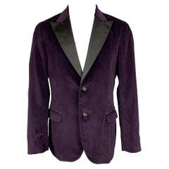 BOGLIOLI Size 42 Regular Purple & Black Velvet Cotton Sport Coat