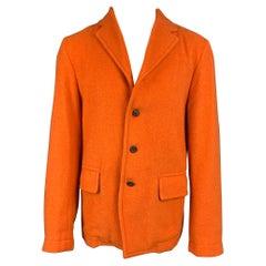 DRIES VAN NOTEN Size 40 Orange Textured Wool Blend Jacket