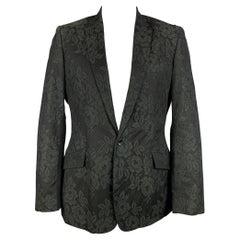 D&G by DOLCE & GABBANA Size 44 Black Lace Notch Lapel Sport Coat